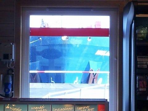 Det har teke lang tid! Dette bildet viser utsikt frå kassaområdet i butikken.
